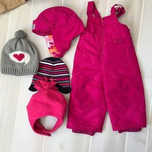 Circo snow pants with 4 hats 12 months